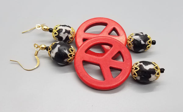 Black, White Krobo Beads, Dyed Red Magnesite Stones, Brass, Earrings