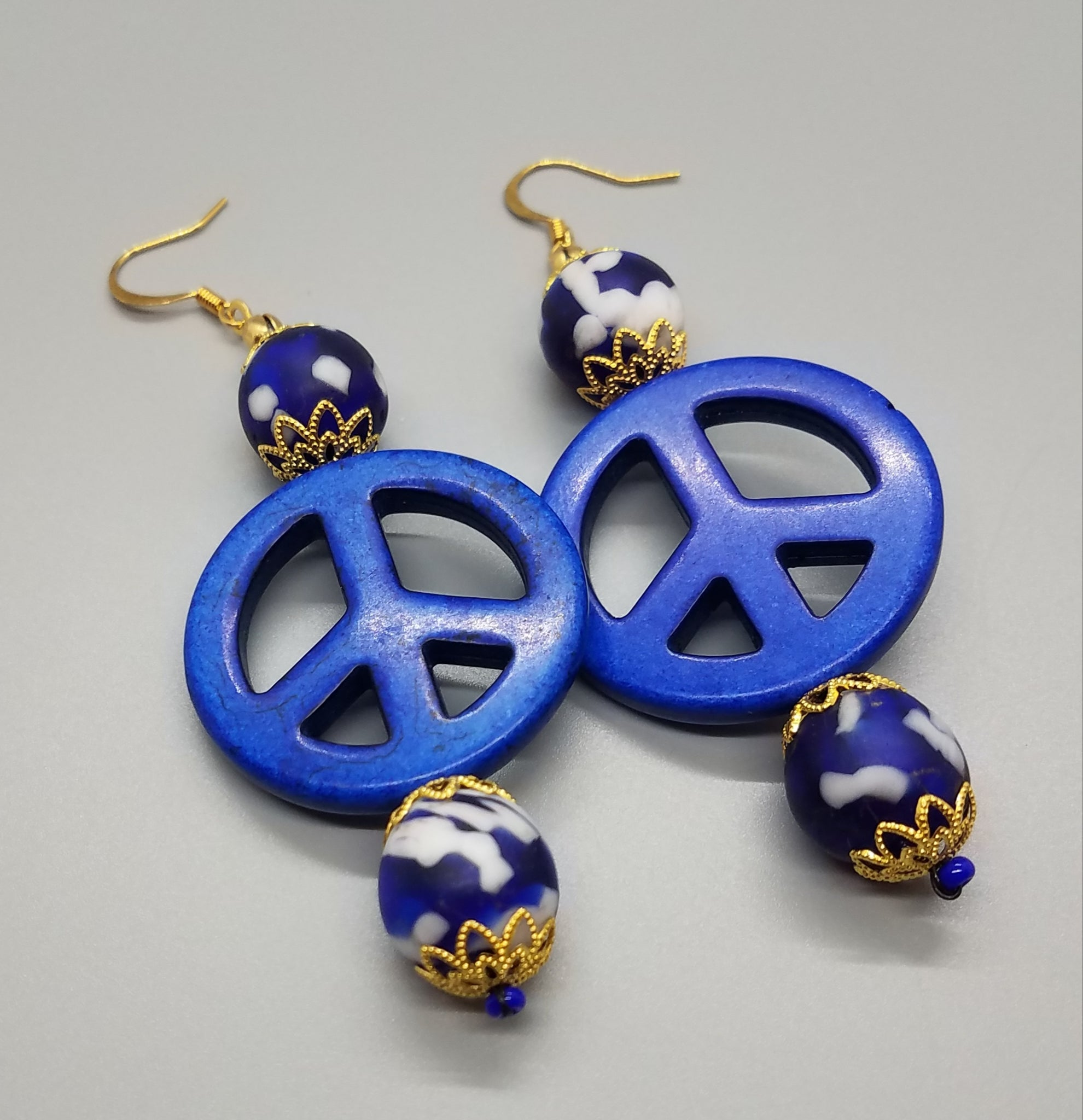 Blue, White Krobo Beads, Dyed Blue Magnesite Stones, Brass Earrings