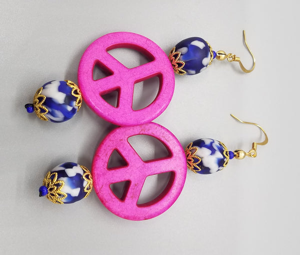 Blue, White Krobo Beads, Dyed Pink Magnesite Stones, Brass Earrings