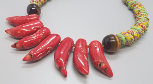 Red Chilli Coral Sticks, Red/Green/Yellow Multi Kobo Beads, Tiger Eye, Czech Seed, Brass,  Necklace