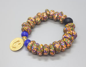 "Muti Krobo Beads, Blue Cat Eye Beads, 22K Gold Plated Brass ""D"" Charm, Brass, Stretch Bracelet"