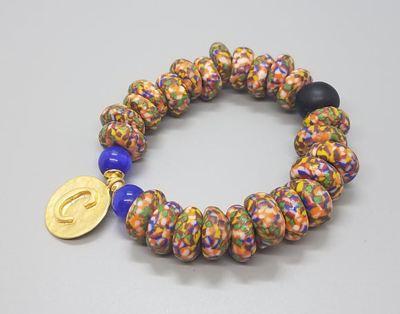 Muti Krobo Beads, Blue Cat Eye Beads, 22K Gold Plated Brass