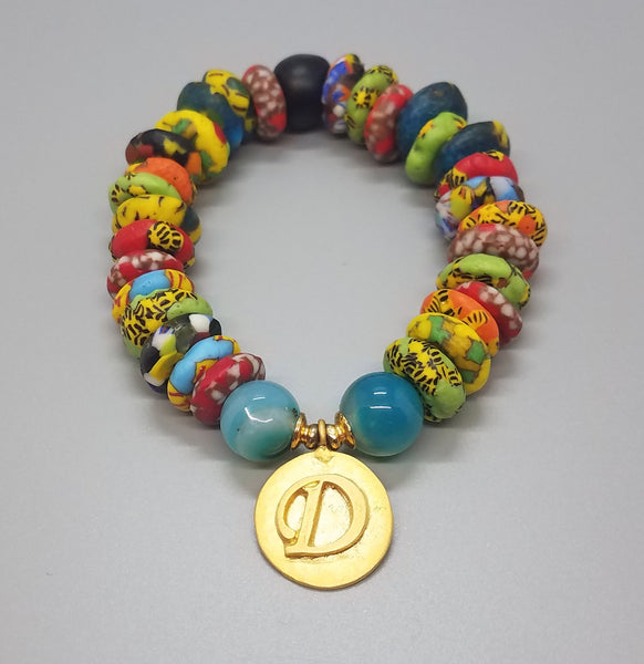 "Muti Krobo Beads, Aqua Agate Beads, 22K Gold Plated Brass ""D"" Charm, Brass, Stretch Bracelet"