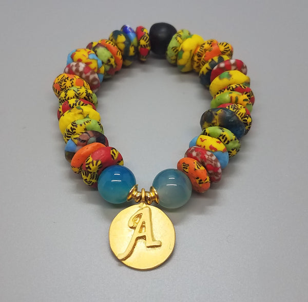 "Muti Krobo Beads, Aqua Agate Beads, 22K Gold Plated Brass ""A"" Charm, Brass, Stretch Bracelet"
