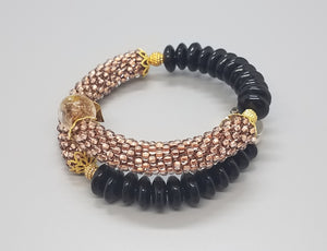 Black Disc Beads, Coffee Czech Seed Beads, Coffee Lampwork Beads and Brass, Beaded Crochet Bangle