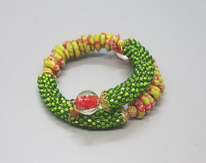 Green Pink Multi Krobo Beads, Green Czech Seed Beads, Lampwork Glass, Brass, Beaded Crochet Bangle