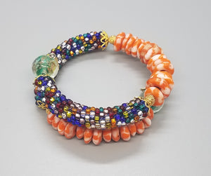 Orange White Multi Krobo Beads, Multi Czech Seed Beads, Green Lampwork, Brass, Beaded Crochet Bangle