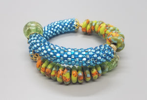 Green/Aqua/Or Multi Krobo Beads, Aqua Czech Seed Beads, Venetian Glass, Brass, Beaded Crochet Bangle