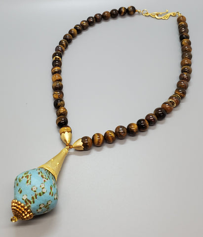 Aqua Green Mult Krobo Beads, Tiger Eye Beads, 22K Gold Plated Brass, Brass, Necklace