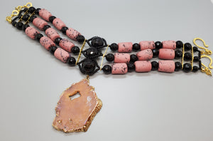 Gold Plated Pink Tan Druzy Agate, Pink, Black Krobo Beads, Black Onyx Beads, Brass, Choker