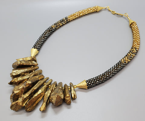 Gold Quartz Daggers, Grey, Gold Czech Seed Beads, 22K Gold Plated Brass, Beaded Crochet Necklace