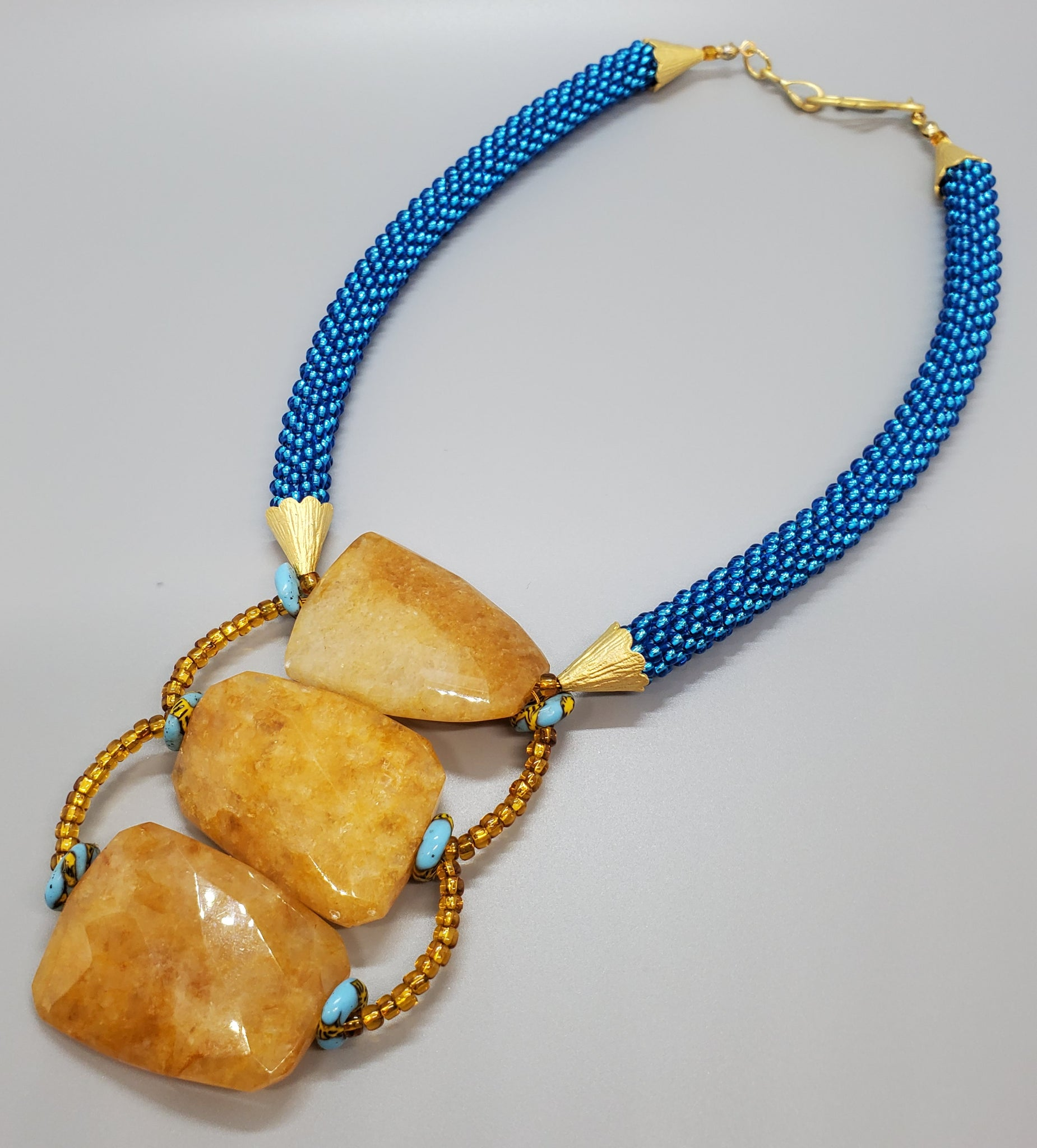 Yellow Jade, Aqua Multi Krobo Beads, Aqua, Topaz Czech Seed Beads, Brass, Beaded Crochet Necklace