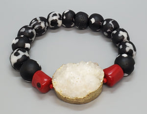 Black and White Krobo Beads, Gold Plated White Druzy Agate Stone, Red Coral Beads, Stretch Bracelet