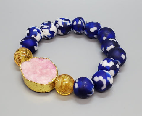 Blue/White Krobo Beads, Pink Gold Plated Druzy Agate, Gold Venetian Glass, Stretch Bracelet