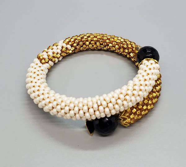 Black Onyx Beads, Cream Czech Seed Beads, Gold Topaz Czech Seed beads, Brass, Beaded Crochet Bangle
