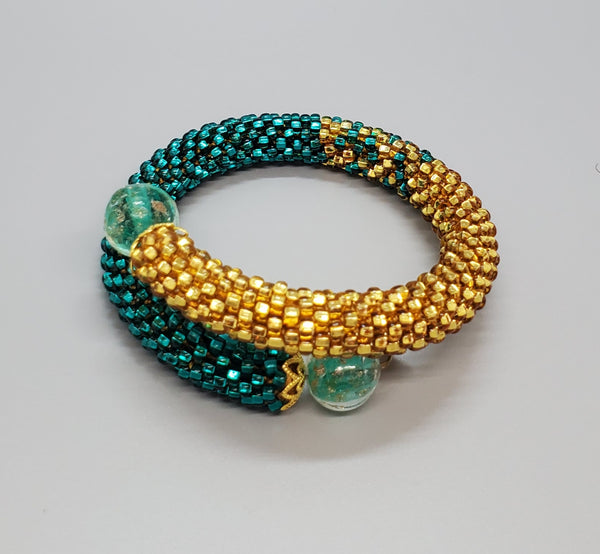 Green Lampwork Beads, Emerald, GoldTopaz Czech Seed Beads, Brass, Beaded Crochet Bangle