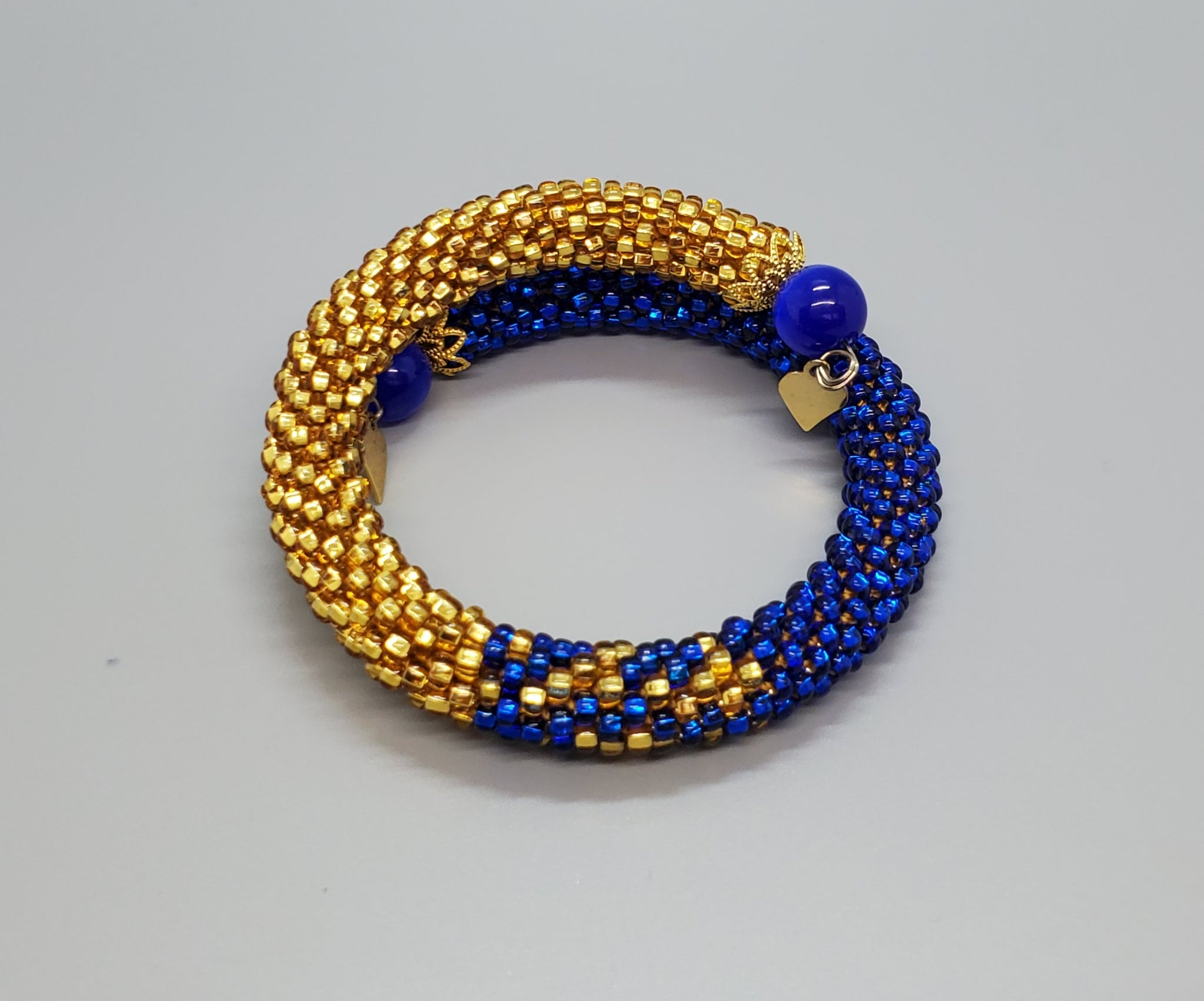 Blue Cat Eye Beads, Capri Blue, Gold Topaz Czech Seed Beads, Brass, Beaded Crochet Bangle