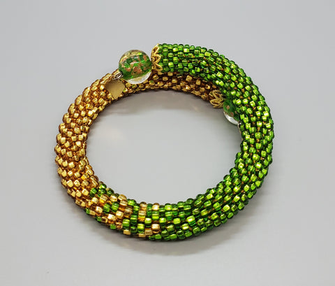 Green Lampwork Beads, Green, Gold Topaz Czech Seed Beads, Brass, Beaded Crochet Bangle