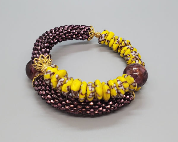 Yell/Brown Multi Krobo Beads, Purple Czech Seed Beads, Venetian Glass, Brass, Beaded Crochet Bangle