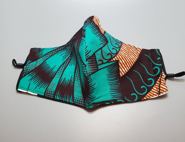 Ankara Green Multi Reusable Mask