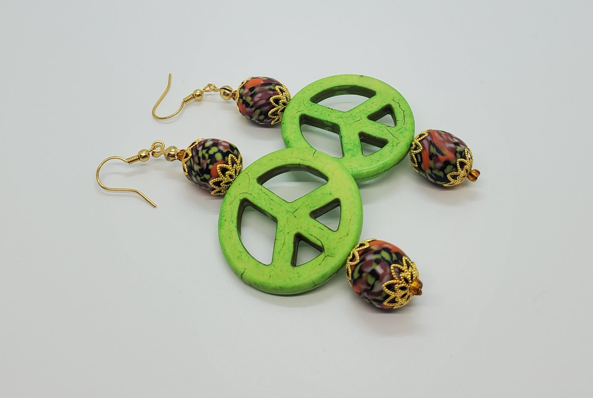 Black, Multi Krobo Beads, Dyed Green Magnesite Stones, Brass, Earrings