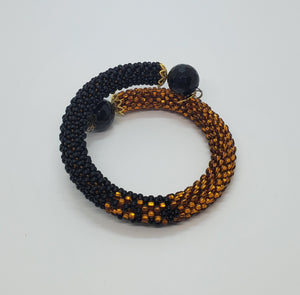 Black Onyx Beads, Black, Topaz Czech Seed Beads, Brass, Beaded Crochet Bangle