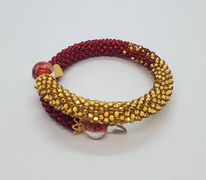 Red Lampwork Beads, Red, Gold Czech Seed Beads, Brass, Beaded Crochet Bangle
