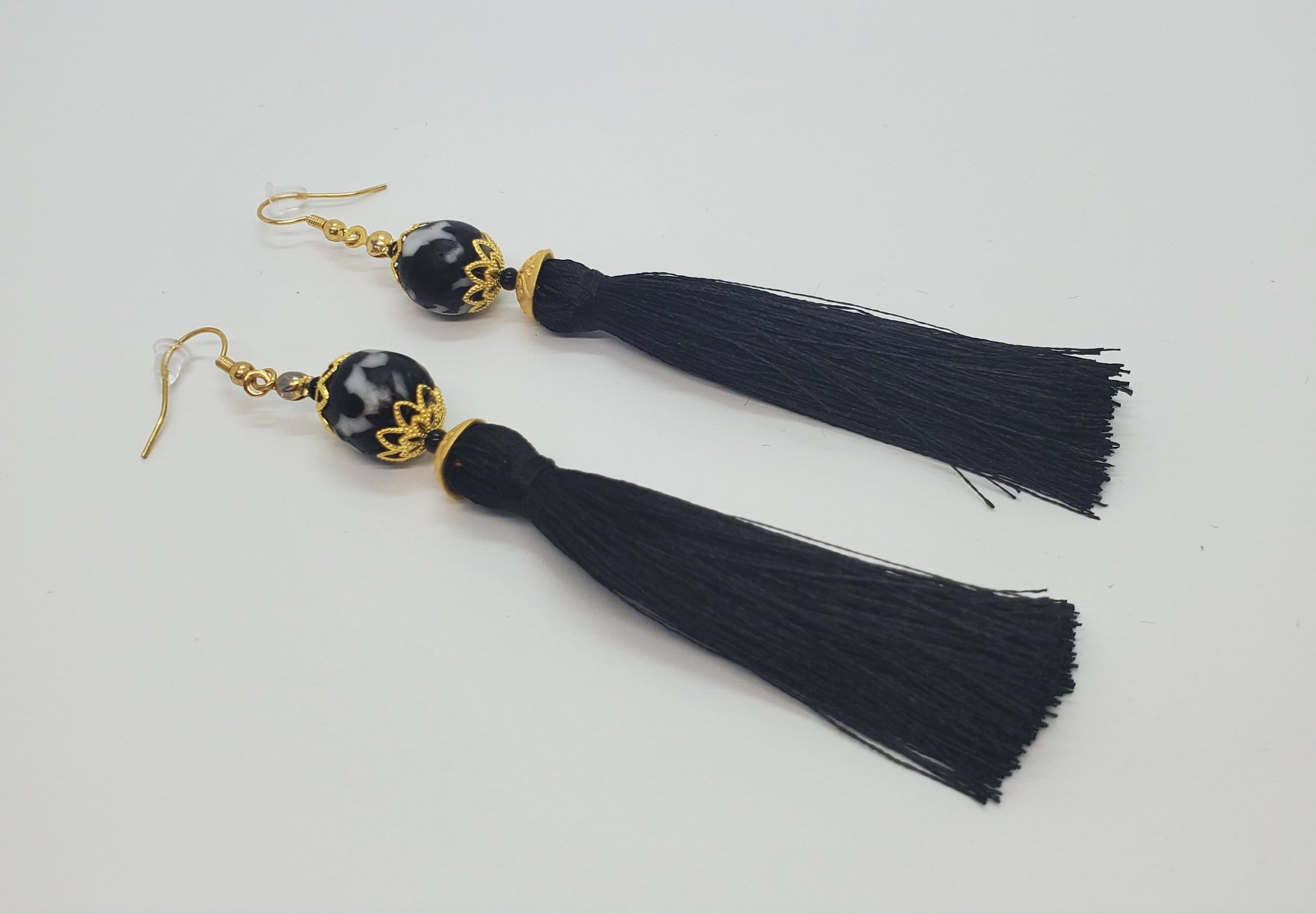 Black, White Krobo Beads, Black Thread Tassel, Brass Earrings