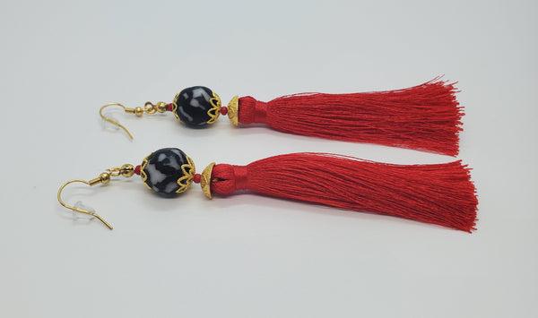 Black, White Krobo Beads, Red Thread Tassel, Brass Earrings