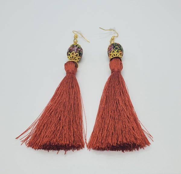 Black, Multi Krobo Beads, Sienna Thread Tassel, Brass Earrings