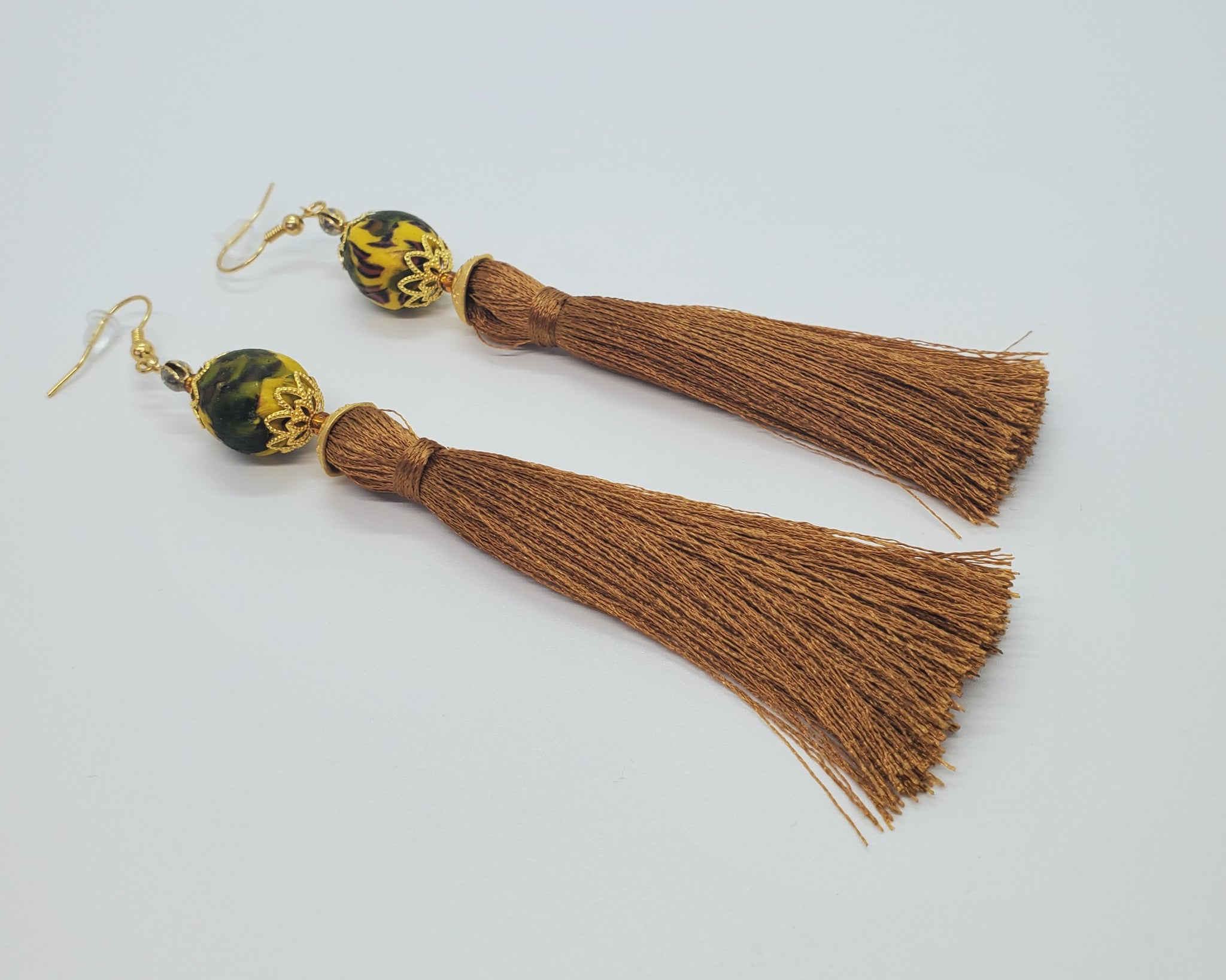 Green, Brown Multi Krobo Beads, Light Brown Thread Tassel, Brass Earrings