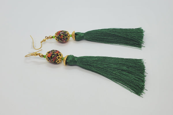 Black, Multi Krobo Beads, Green Thread Tassel, Brass Earrings