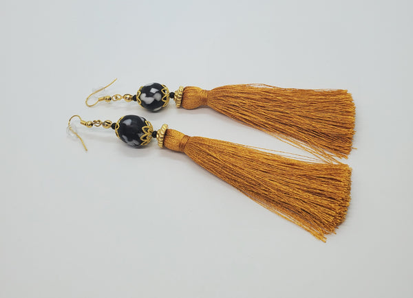 Black, White Krobo Beads, Mustard Thread Tassel, Brass Earrings