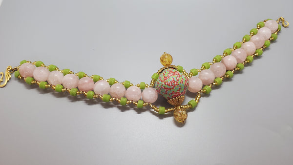 Multi Krobo Bicone, Green Krobo Beads, Rose Quartz, Brass, Gold Czech Seed Beads, Venetian Gladd Beads, Woven Necklace