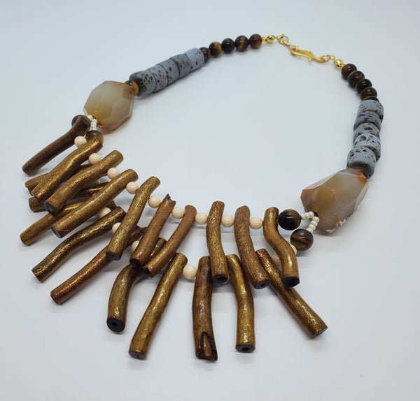 Gold Bamboo Wood Coral sticks, Gray/Brown Krobo Beads, Czech Seed Beads, Agate, Tiger Eye, Brass, Necklace