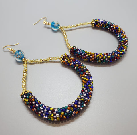 Blue Lampwork Beads, Multi Czech Seed Beads, Topaz Chech Seed Beads, Brass, Beaded Crochet Earrings