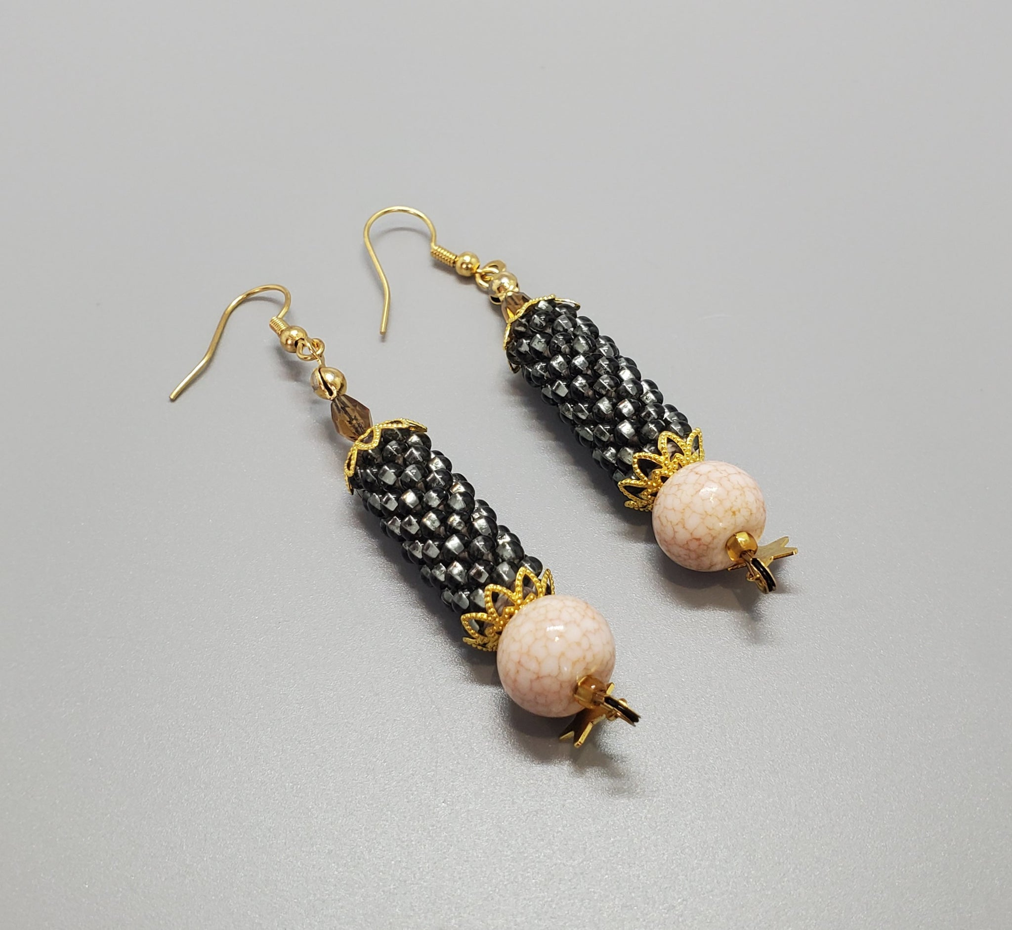 Cream Agate Beads, Grey Seed Beads, Brass, Beaded Crochet Earrings