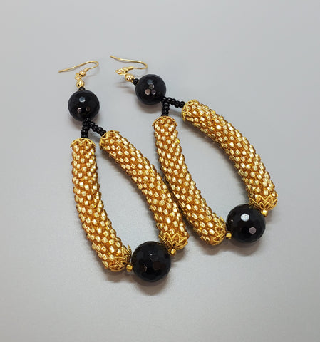 Black Onyx Beads, Topaz Czech Seed Beads, Brass, Beaded Crochet Earrings