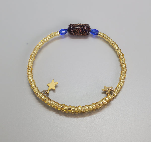 Blue, Brown, Gold Czech Dainty Bangle/Bracelet
