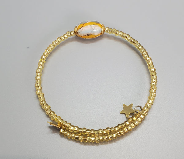Aqua, Yellow, Gold Czech Dainty Bangle/Bracelet