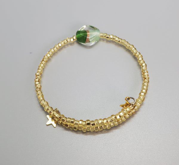 Light Green, Green, Gold Czech Dainty Gold Bangle/Bracelet
