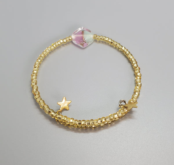 Light Blue, Lilac, Gold Czech Dainty Bangle/Bracelet