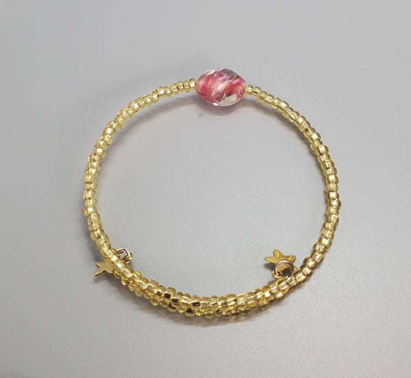 Pink, Gold Czech Dainty Bangle/Bracelet