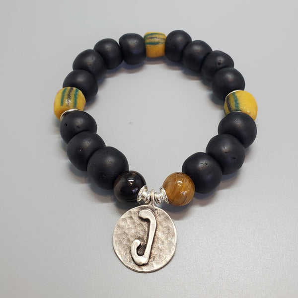 "Black, Must. Krobo Beads, Tiger Eye, Antique Silver Plated Brass ""J"" Charm, Brass, Unisex Stretch Bracelet"
