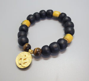 "Black, Must. Krobo Beads, Tiger Eye, 22K Gold Plated Plated Brass ""&"" Charm, Brass, Unisex Stretch Bracelet"
