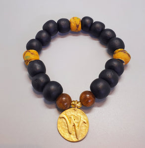 "Black, Must. Krobo Beads, Tiger Eye, 22K Gold Plated Plated Brass ""W"" Charm, Brass, Unisex Stretch Bracelet"