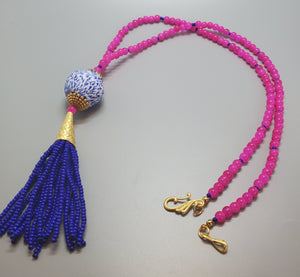 Blue White Krobo Bead, Czech Seed Beads, Czech Beads, 22K Gold Plated Brass, Brass Tassel Necklace