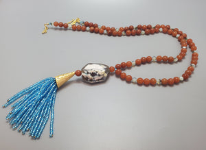 Agate, Red Aventurine, Aqua Czech Seed Beads,Czech Beads, 22K Gold Plated Brass, Brass Tassel Necklace