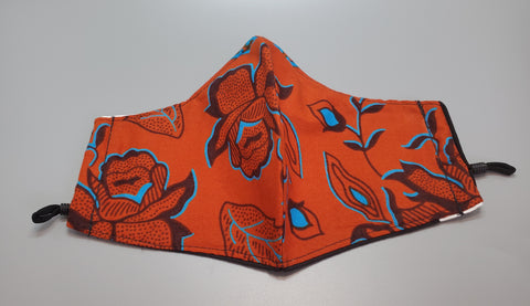 Ankara Blue Orange Multi Cloth Face Mask