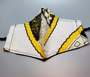 White, Black and Yellow Multi Ankara Cloth Face Mask